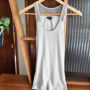 🏝️2/$10 American Eagle Beige Ribbed Tank top lace back small
